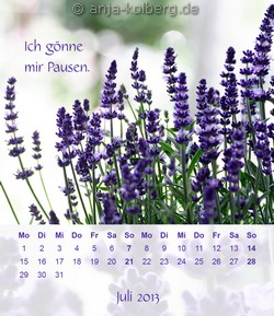 Juli 2013 - Tischkalender Ich gehe meinen Weg