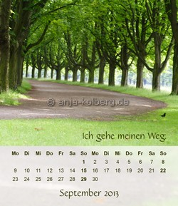September 2013 - Tischkalender Ich gehe meinen Weg
