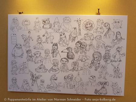 Figuren von Norman als Zeichnung