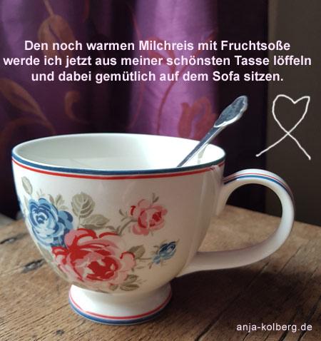 Gemütlich mit schönster Tasse für den Milchreis